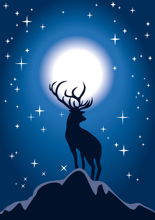 Christmas deer standing on a peak of a hill, its antlers are before the Moon  Stock Vector - 23902456