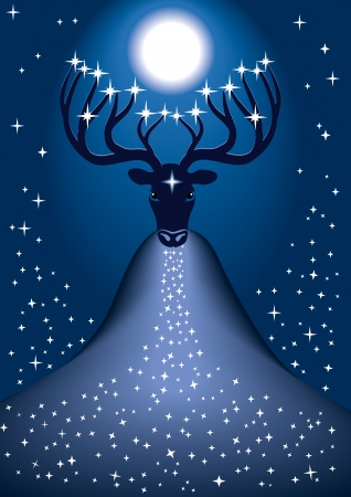 Cosmic christmas deer with stars on the tips of its antlers and with the newborn Sun Stock Vector - 23902460