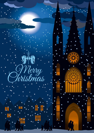 Vector image of a church with ligtings on snowy Christmas Eve  People are going to the mass by moonlight   Vector