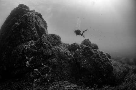 woman scuba diving over rocks in the Mediterranean Sea Foto de archivo
