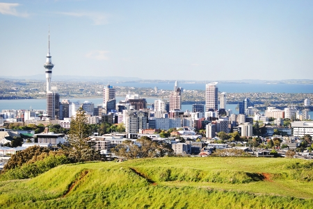 Beautiful view from volcano mount Eden to Auckland