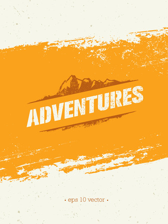 Adventures. Adventure Mountain Hike Creative Motivation Concept. Vector Outdoor Design
