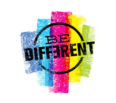 Be Different Motivation Statement. Creative Grunge Vector Typography Sign Concept
