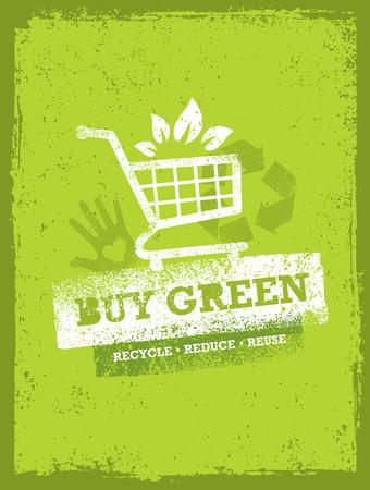 Buy Green Eco Shopping Cart. Organic Food Nature Friendly Vector Concept