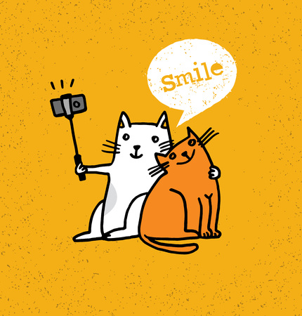 Two Cats Making Photo Using Selfie Stick. Funny Animal Illustration On Distressed Background 일러스트