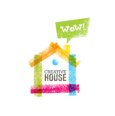 Creative house decoration with colorful abstract rough brushstroke.