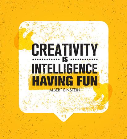創造性は、楽しんでインテリジェンスです。感動の創造的な動機の引用。ベクトル音声バブル バナー デザイン コンセプト  イラスト・ベクター素材