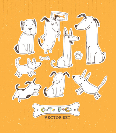Cute cartoon dog set. Hand drawn doodle vector illustration.