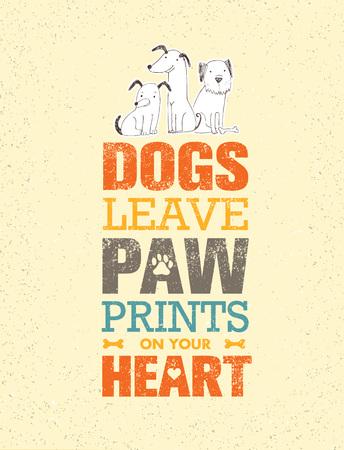 Honden laten pootafdrukken achter op je hart. Opmerkelijk Citaat Leuk Vectorconcept op Gerecycleerde Kartonachtergrond Stock Illustratie