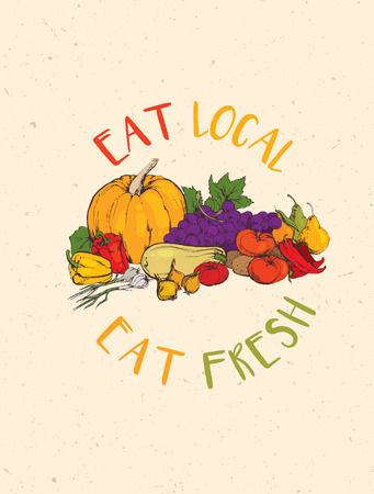 Eat Local, Eat Fresh Healthy Food Eco Farm Concept on Rusty Background.