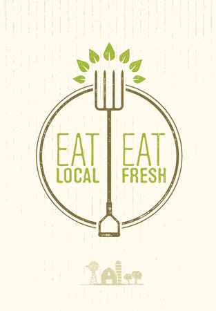 로컬 먹고, 녹슨 배경에 신선한 건강에 좋은 음식 에코 농장 개념을 먹는다. 일러스트
