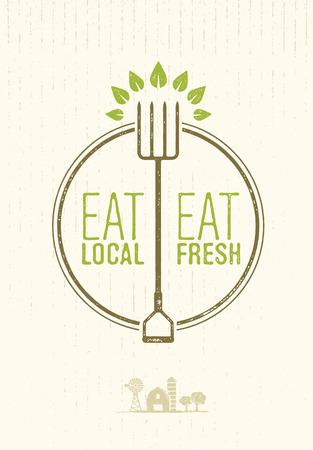 Coma Local, Coma Comida Fresca, conceito de fazenda ecológica em fundo enferrujado. Foto de archivo - 71548572
