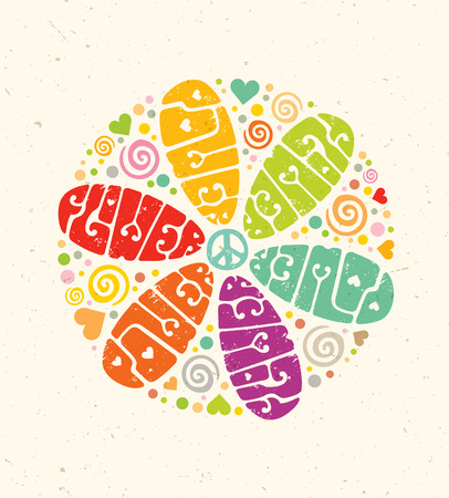 Flower Power Creative Hippie Illustration. Bright Summer Lettering Concept on Paper Background
