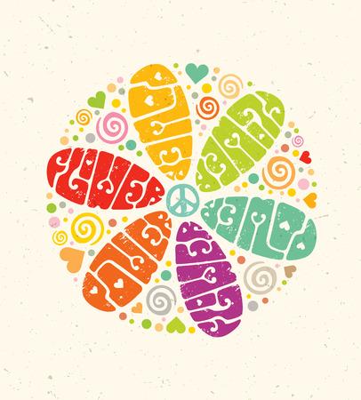 Flower Power Creative Hippie Illustration. Bright Summer Lettering Concept on Paper Background