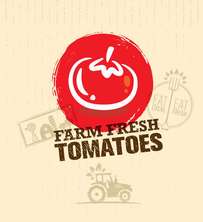 Organic Farm Fresh Tomatoes Creative Food Market Design Element. Eat Local Concept On Craft Paper Background.