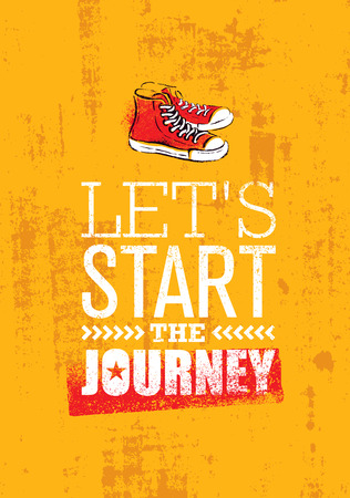 Start The Journey. Creative Adventure Motivation Poster Concept With Handmade Brush Ankle Sneakers Illustration
