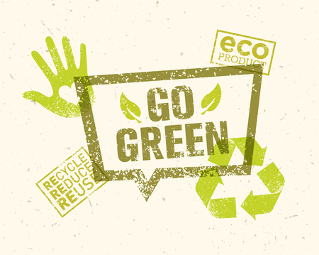symbols: Go Green Recycle Reduce Reuse Eco Poster Concept. Creative Organic Illustration On Rough Background