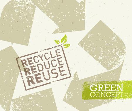 Va el verde recicla reduce la reutilización Eco cartel concepto. Ilustración creativa orgánica en el fondo áspero