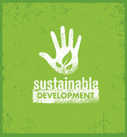 Eco Green Sustainable Living Creative Organic Banner Concept On Rough Background.