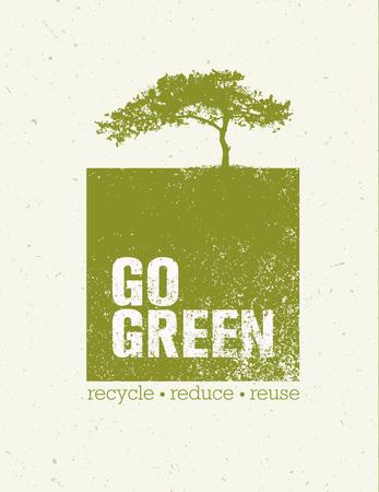ゴーグリーンごみ削減再利用エコ ポスター コンセプト。大まかな背景に創造的な有機のイラスト。  イラスト・ベクター素材