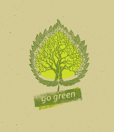 symbols: Go Green Recycle Reduce Reuse Eco Poster Concept. Creative Organic Illustration On Rough Background. Illustration