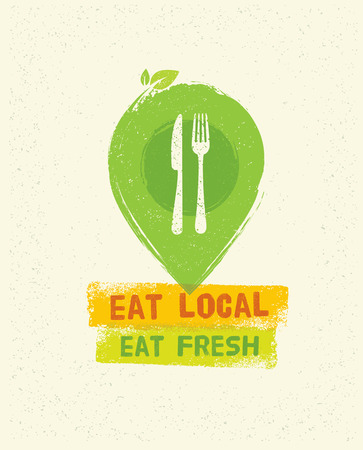 Eat Local Eat Fresh. Organic Eco Farm Vector Creative Concept on Recycled Paper Background Illustration