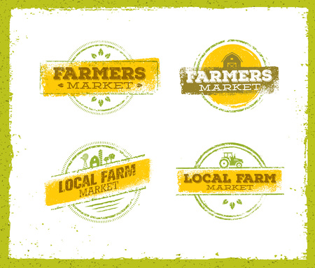 Logo de ferme locale, concept de nourriture de ferme locale, vecteur créatif de ferme locale, élément de conception de ferme locale. Jeu de timbres de ferme locale