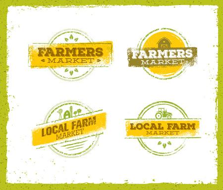 Logo dell'azienda agricola locale, concetto dell'alimento dell'azienda agricola locale, vettore creativo dell'azienda agricola locale, elemento di progettazione dell'azienda agricola locale. Set di francobolli di fattoria locale