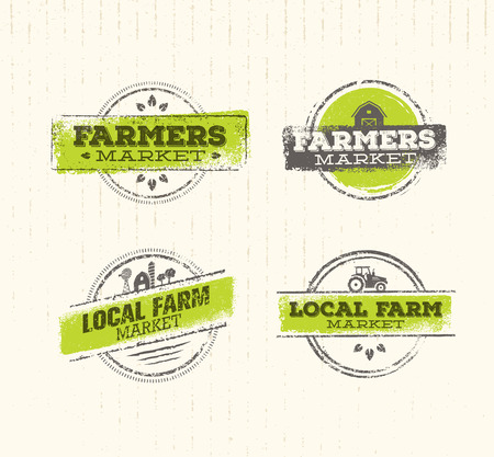Local Farm , Local Farm Food Concept, Local Farm Creative , Local Farm Design Element. Local Farm Stamp Set