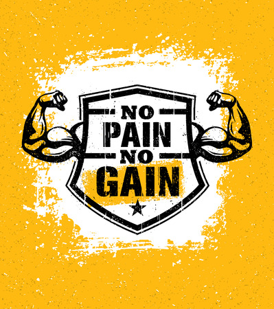 No Pain No Gain. Gym Workout Motivation Quote Vector Concept. Sport Fitness Inspiration Sign. Muscle Arm Illustration