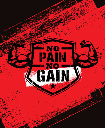 No Pain No Gain. Gym Workout Motivation Quote Vector Concept. Sport Fitness Inspiration Sign. Muscle Arm Иллюстрация