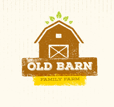 Old Barn Local Farm Creative Sign Concept. Organic Food Fresh Healthy Eco Green Vector Banner Concept