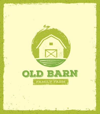 古い納屋ローカル ファーム創造的な記号の概念。有機食品新鮮な健康的なエコの緑ベクトル バナー コンセプト