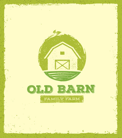Old Barn Local Farm Creative Sign Concept. Organic Food Fresh Healthy Eco Green Vector Banner Concept Stok Fotoğraf - 72166276