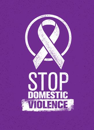 Stop de stempel van het huiselijk geweld. Creatieve sociale Vector Design Element Concept Stock Illustratie