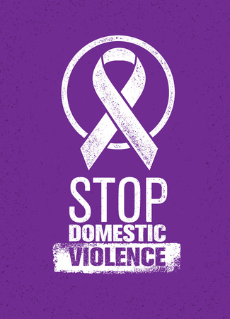 Stop Domestic Violence Stamp. Creative Social Vector Design Element Concept