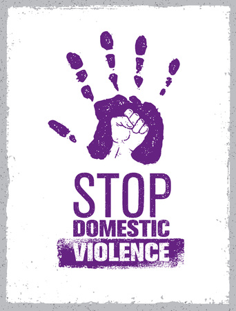 Stop Domestic Violence Stamp. Creative Social Vector Design Element Concept. Hand Print With Fist Inside Grunge Icon. Vettoriali
