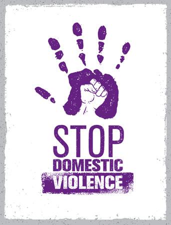 Stop de stempel van het huiselijk geweld. Creatieve sociale Vector Design Element Concept. Hand afdrukken met vuist binnen Grunge pictogram.