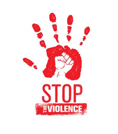 家庭内暴力のスタンプを停止します。創造的な社会のベクトル要素設計。グランジ アイコン内の拳で手を印刷します。