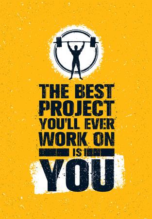 Le meilleur projet sur lequel vous travaillerez est vous. Entraînement de gymnastique inspirant l'affiche créatrice de citation de motivation. Ajuster le concept de corps
