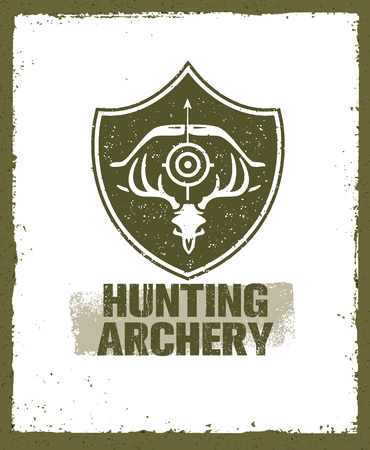 Hunting Archery Outdoor Activity Sign concept. Creative Vector Design Elements On Distressed Background.