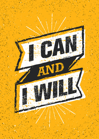 I Can And I Will. Sport Gym Typography Workout Motivation Quote Banner. Strong Vector Training Inspiration Concept Çizim