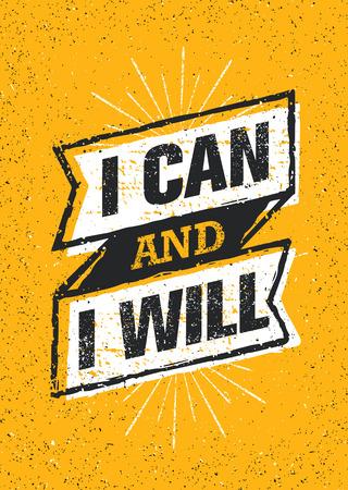 Posso e lo farò. Insegna di citazione di motivazione di allenamento di tipografia della palestra di sport. Forte concetto di ispirazione di allenamento di vettore Vettoriali