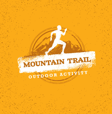 Mountain Adventure Sport Trail. Creative Outdoor Concept on Grunge Background