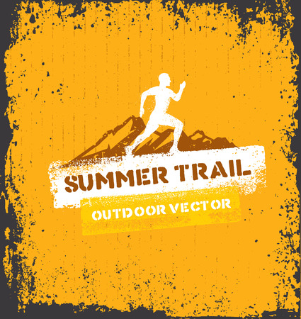 Mountain Adventure Trail. Creative Outdoor Concept on Grunge Background Çizim