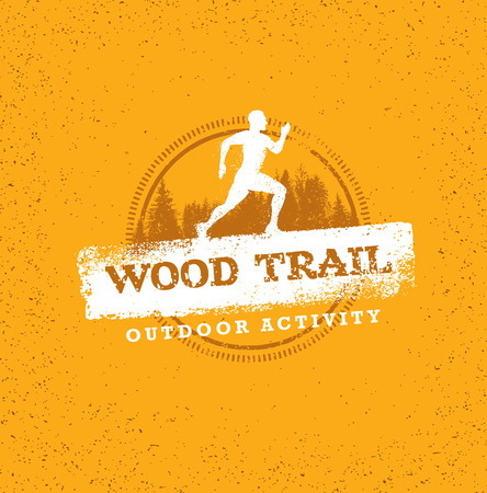 Mountain Adventure Sport Trail. Creative Vector Outdoor Concept on Grunge Background
