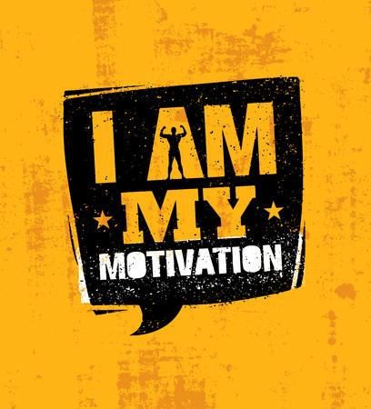 私は私の動機です。感動的なワークアウト、フィットネス ジム動機引用。創造的なスポーツ ベクトル タイポグラフィ
