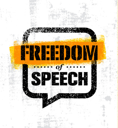 Freedom Of Speech. Inspiring Creative Social Vector Typography Banner Design Concept On Grunge Wall Background