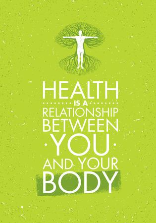 健康はあなたとあなたの体の関係であります。感動創造的な動機の引用テンプレート。