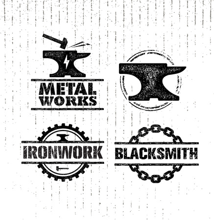 cast iron: Set of vintage blacksmith labels, badges, emblems and design elements. Rough illustration. Stock Photo